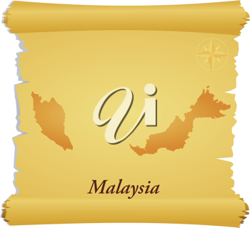 Royalty Free Clipart Image of a Parchment With a Silhouette of Malaysia