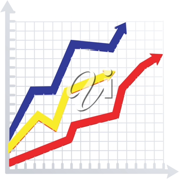 Royalty Free Clipart Image of a Colored Arrows on a Graph Symbolizing Growth