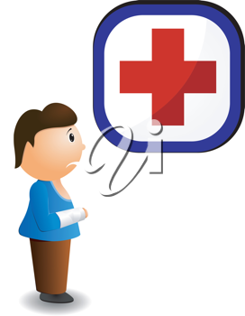 Royalty Free Clipart Image of a Boy at the Doctor with an Injured Hand