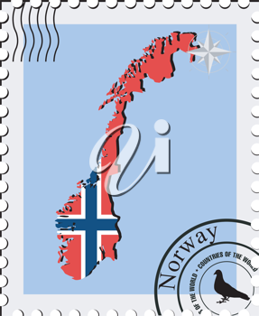 Royalty Free Clipart Image of a Stamp with a Map of Norway