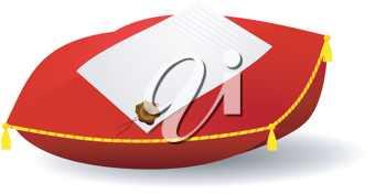 Royalty Free Clipart Image of a Letter on Top of a Pillow