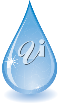 Royalty Free Clipart Image of a Glistening Water Drop