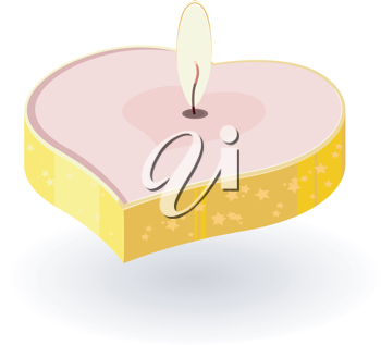 Royalty Free Clipart Image of a Heart Shaped Lit Candle