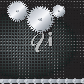 Royalty Free Clipart Image of a Metal Background With Gears