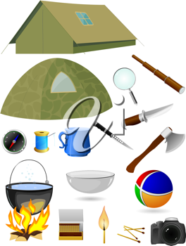 Royalty Free Clipart Image of a Camping Gear
