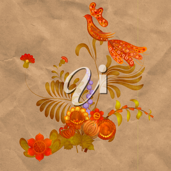 Petrikov painting.  Floral ornament on old paper background. eps 10
