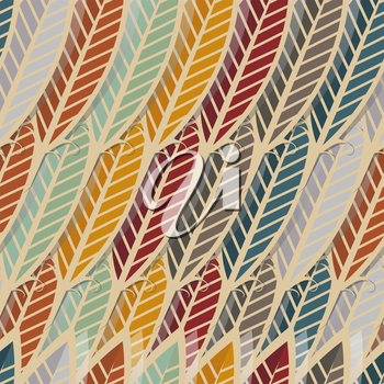 Seamless pattern with abstract feathers