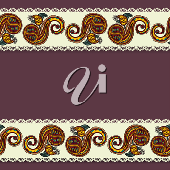 Purple background with lace and traditional Ukrainian floral elements