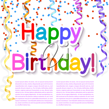 Festive texture happy birthday on a white background with streamer and confetti. Vector illustration.
