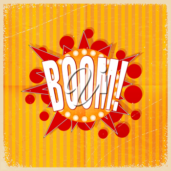 Cartoon Boom on an old-fashioned yellow background. Retro style. Vector illustration.