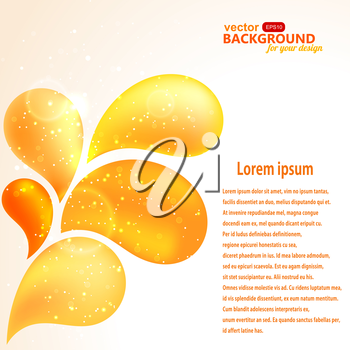 Abstract background with floral design elements in orange colors. EPS 10