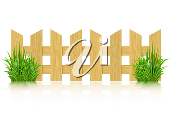Wooden fence isolated on a white background and green grass. Vector illustration.