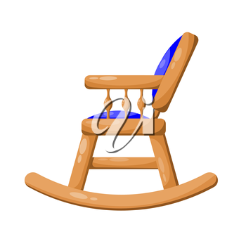 Blue wooden rocking chair isolated on white background. Vector illustration.
