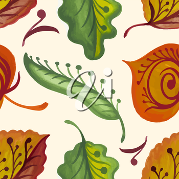 Seamless texture with bright autumn leaves and flowers. Vector illustration.