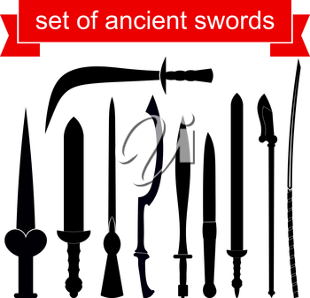 Set of silhouettes of knives. Vector illustration