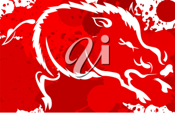 Red background with white silhouette of the wild boar. Watercolor. Vector illustration.