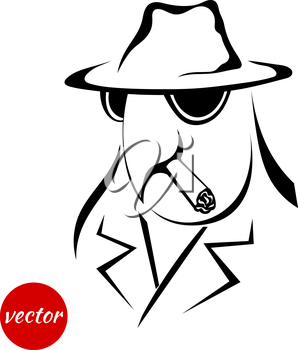 Sketch bird in the coat, hat and cigar isolated on a white background. Vector illustration.