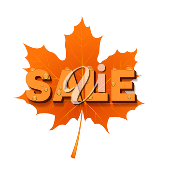 Red Maple Leaf with the SALE. Vector illustration