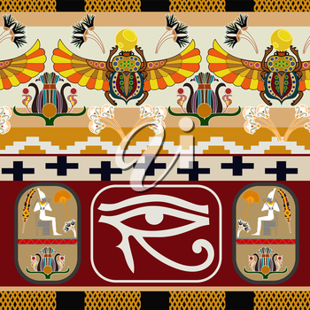 Seamless pattern with the eye of the god Ra. Vector illustration