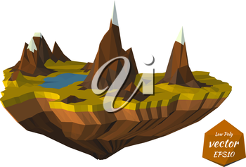 Island with mountains in the low poly style. Vector illustration