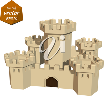 Fortress towers. Low poly style. Vector illustration.