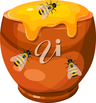 Cartoon drawing of a clay pot with honey and bees. Vector illustration