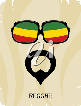 Abstract Rastaman man's face with a beard and glasses. Icon reggae musical style. Musical 