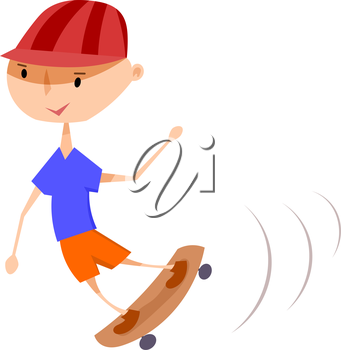 A boy on a skateboard. Vector illustration of a boy on a skateboard on a white background. 