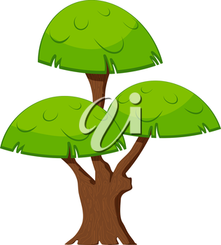 Cartoon green tree on a white background. Flora element. Abstract tree with stylized foliage.  Stock vector illustration