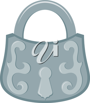 Vector illustration of abstract vintage metal padlock on a white background. Retro Castle with a decorative ornament in Cartoon style. Vintage object - padlock, design element