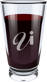 Vector realistic illustration of a high glass glass with dark liquid. Image of wine, coca cola, cocktail, juice. Isolated object on a white background. Design element