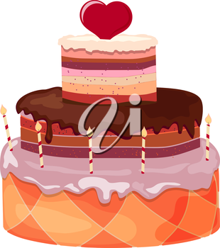 Stock Vector Cartoon festive sweet cake with candles and red heart on a white background. Birthday Symbol, Valentine's Day