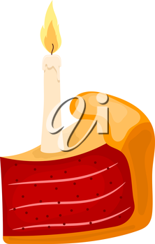Vector illustration of a piece of cake with candle on a white background. Cartoon cake with candle and sweet red berry filling. Food for the holidays, festive dessert