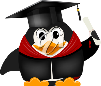 Cartoon image of a young young penguin graduate university in a cap with a diploma on a white background. Vector illustration