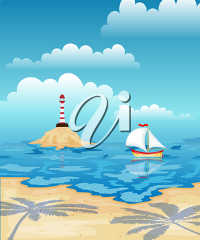 Sailboat in the sea and lighthouse. Tropical beach with palm trees. Rest, travel.Vector illustration.