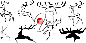 Set of black images of moose and deer. Abstract drawings of animals on a white background. Vector illustration