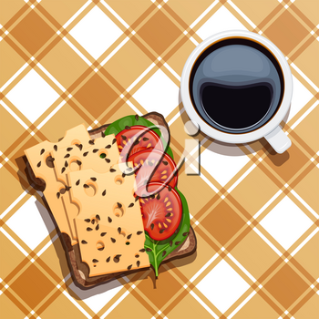 Food for breakfast.  Sandwiches with a cup of coffee on a checkered tablecloth. Vector illustration of toast with cheese, spinach, white cup with black coffee