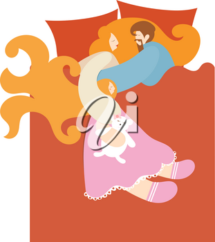 Happy sleeping family in bed. Dad, mom and daughter with a teddy bear. The perfect married couple with a child. Vector illustration of a cartoon style bedroom