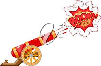 Vintage gun. Color image of medieval cannon firing on a white background. Cartoon style. The subject of war and aggression. Stock illustration