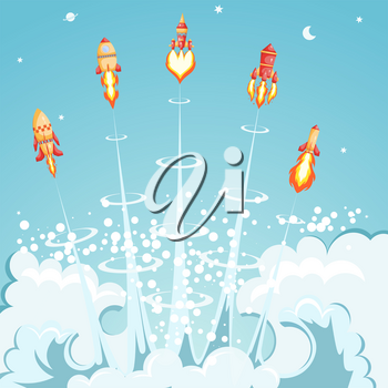 Five launching cartoon space rockets on retro background. Space vintage transport with flame and smoke. Collection of red rockets. Set of vector illustration