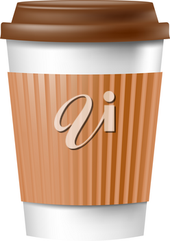 Paper cup for coffee with a lid on a white background. Vector illustration of cookware for fast food