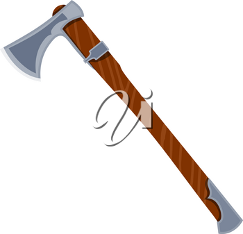Color image of an ax on a white background. Vector illustration of an axe