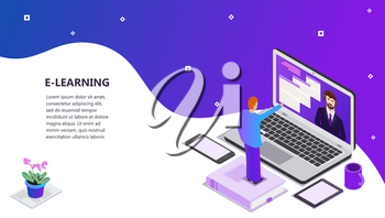Landing page template of Online education Modern flat design concept of web page design for website and mobile website Laptop book, phone head phones, cup on the table and student Vector illustration