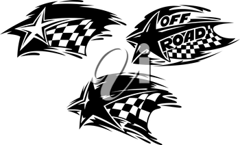 Racing stars with checkered flags. Vector illustration