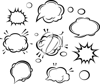 Cartoon clouds and bubbles set. Vector illustration