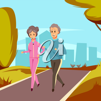 Senior couple or old man and woman on sport jogging. Vector people in sports outfit run on road in park at urban cityscape for health or healthy lifestyle activity concept design