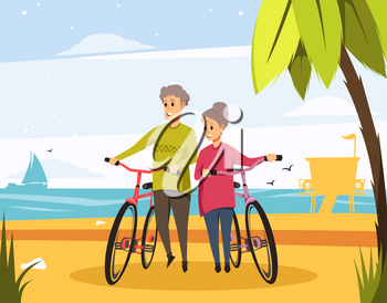 Senior couple or old man and woman with bicycles on beach. Vector people on holiday vacation or travel and sport at sea or ocean seascape with palm, waves and seagulls