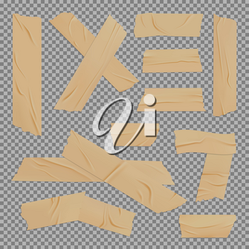 Adhesive duct tape realistic design with vector mockup of brown packaging stripes on transparent background. Wrinkled pieces of sticky tape in shape of cross and corner with ripped edges