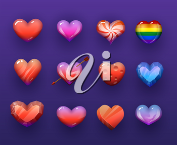 Cartoon vector hearts isolated vectir icons set. Rainbow, candy and ruby gemstone, ice crystal, pierced with arrow red and colorful hearts, pc or mobile game assets, gui design isolated elements