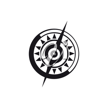 Rose of wind isolated monochrome icon. Vector longitude and latitude dial, marine navigation symbol, windrose compass dial showing polaris. Topography instrument, orientation and direction object